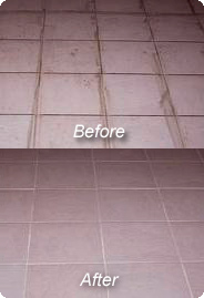 Picture Showing Old Vs. Cleaned Tile & Grout